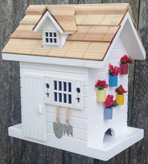 """8"""" White and Brown Flower Shed Outdoor Garden Birdhouse - IMAGE 1"""