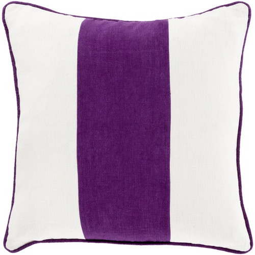 "22"" Purple and White Striped Square Throw Pillow - IMAGE 1"