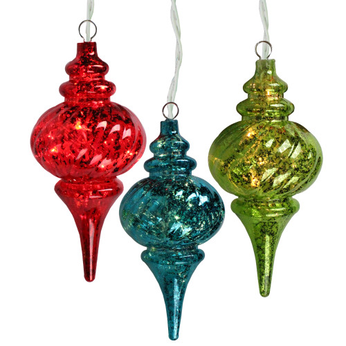3-Count Pre-Lit Red and Green Glass Christmas Finial Ornament - IMAGE 1