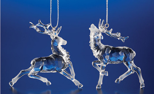 """Club Pack of 48 Clear Icy Crystal Decorative Christmas Reindeer Ornaments 2.8"""" - IMAGE 1"""
