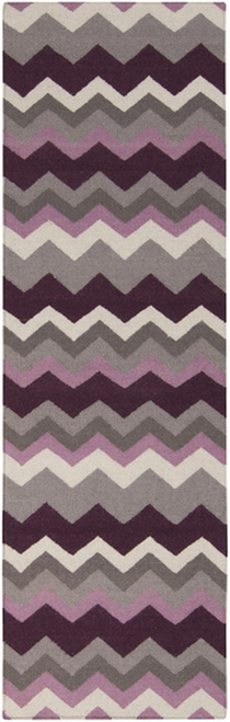 2.5' x 8' Zany ZigZag Gray and Purple Hand Woven Rectangular Wool Area Throw Rug Runner - IMAGE 1