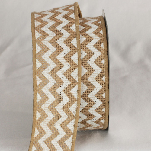 """Tan and White Burlap Chevron Print Wired Craft Ribbons 2"""" x 40 Yards - IMAGE 1"""
