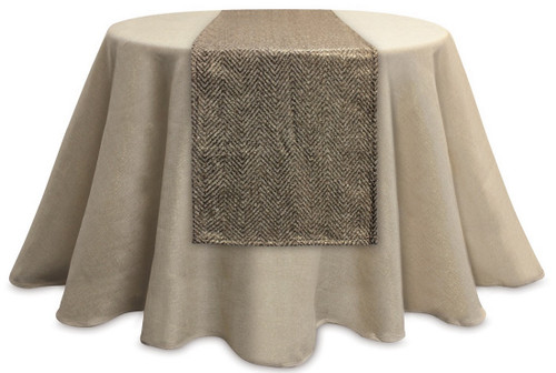 "72"" Metallic Gold and Brown Chevron Rectangular Table Runner - IMAGE 1"