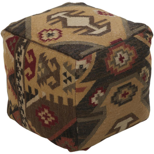 """18"""" Adobe Brown and Shady Taupe Southwestern Feel Wool Square Pouf Ottoman - IMAGE 1"""