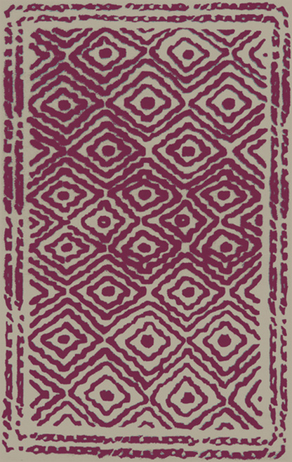 3.25' x 5.25' French Rose and Beige Hand Knotted Wool Area Throw Rug - IMAGE 1