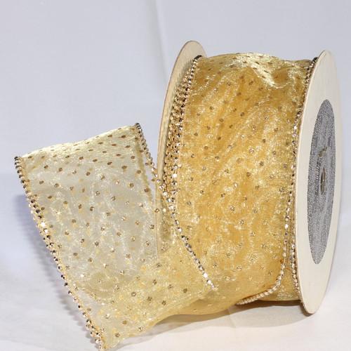 "Shimmering Gold Semi Sheer Brooklyn Wired Edge Craft Ribbon 3"" x 20 Yards - IMAGE 1"