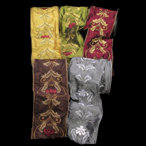 """Gold Colored Satin Silk with Acanthus Print Wired Craft Ribbon 4"""" x 10 Yards - IMAGE 1"""