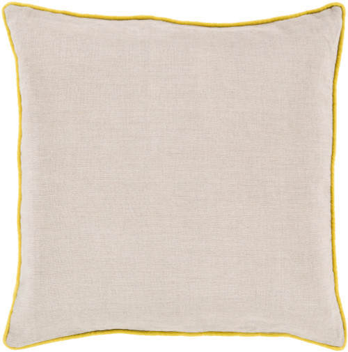 """20"""" Beige and Yellow Contemporary Square Throw Pillow - IMAGE 1"""