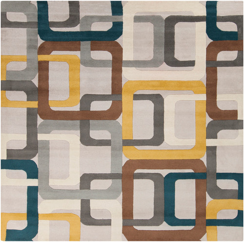 4' x 4' Gray and White Contemporary Hand Tufted Square Wool Area Throw Rug - IMAGE 1