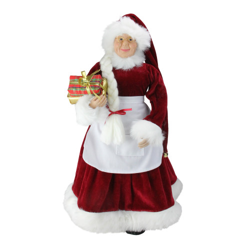 """24"""" Mrs. Claus with Braided Hair and Gifts Christmas Figure - IMAGE 1"""