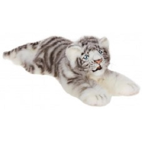 "Set of 2 White and Gray Handcrafted Soft Plush Siberian Tiger Cub Stuffed Animals 21"" - IMAGE 1"