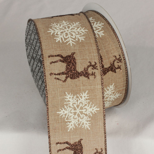 """Brown and White Christmas Snow Stag Print Wired Craft Ribbon 2.5"""" x 20 Yards - IMAGE 1"""