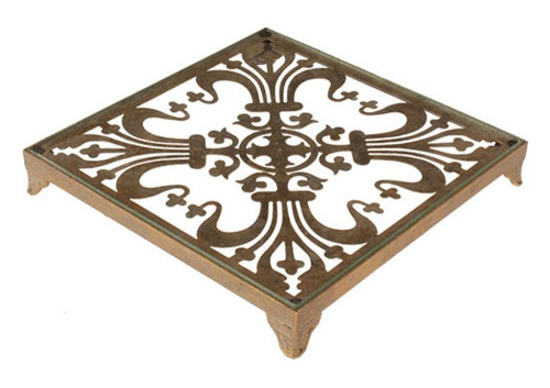 """10.5"""" Gold and Clear Traditional Fleur de Lis Glass Top Decorative Tray - IMAGE 1"""