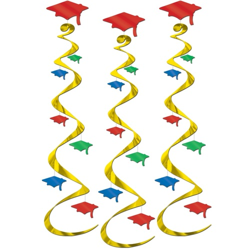 """Club Pack of 18 Gold and Red Graduation Cap Swirl Decorations 30"""" - IMAGE 1"""