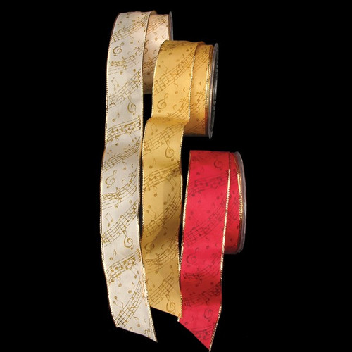 "Red Music Notes Printed Taffeta Wired Craft Ribbon 1.5"" x 27 Yards - IMAGE 1"