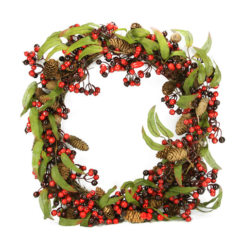 Red Berry and Pine Cone Artificial Christmas Wreath - 24-Inch, Unlit - IMAGE 1