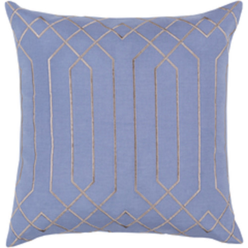"""20"""" Blue and Gray Contemporary Square Throw Pillow - Down Filler - IMAGE 1"""