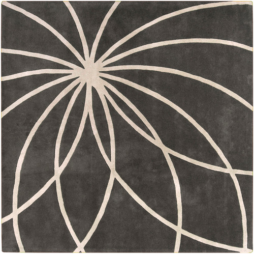 8' x 8' Contemporary Gray and White Hand Tufted Square Wool Area Throw Rug - IMAGE 1