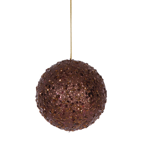"Holographic Glittered Drenched Brown Shatterproof Christmas Ball Ornament 4"" (100mm) - IMAGE 1"