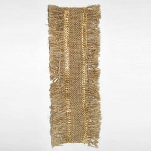 "Gold Lurex Border Fringed Christmas Ribbon 2.5"" x 10 Yards - IMAGE 1"