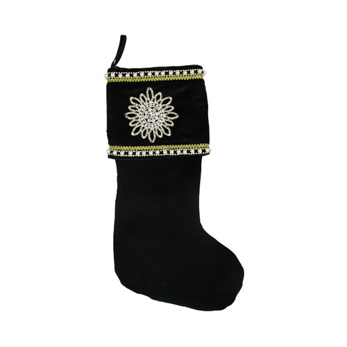 """24"""" Black and Gold Trimmed Jewel Christmas Stocking - IMAGE 1"""