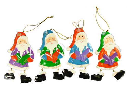"192ct Red Iridescent Glittered Santa Claus Caroler Christmas Ornaments 5.5"" - IMAGE 1"