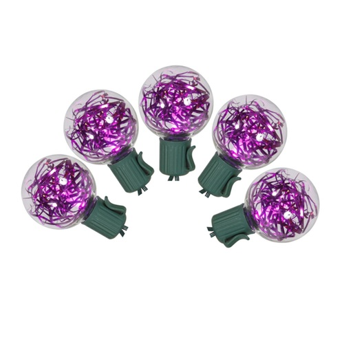 25 Pink LED G40 Tinsel Christmas Lights - 25 ft Green Wire - IMAGE 1