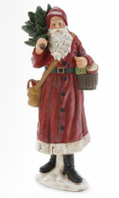 """15.5"""" Red and Green Weathered Woodland Santa Claus Tabletop Decor - IMAGE 1"""