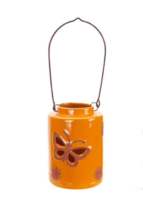 """12.5"""" Orange Cut-Out Butterfly Tea Light or Votive Candle Holder - IMAGE 1"""