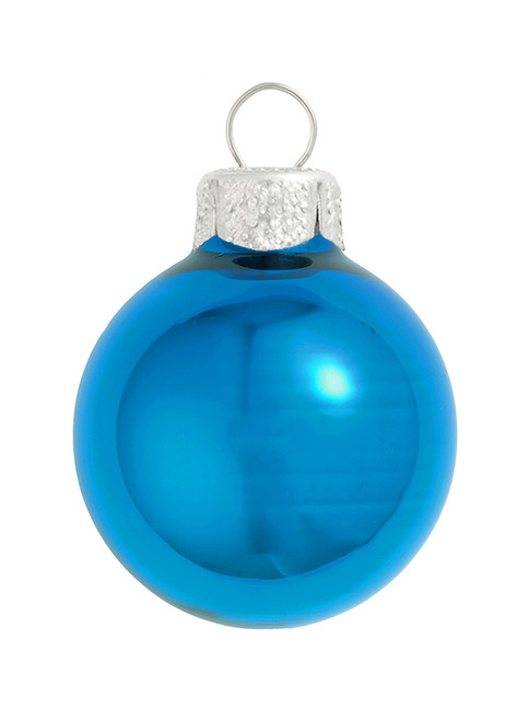 """40ct Blue and Silver Shiny Glass Christmas Ball Ornaments 1.5"""" (40mm) - IMAGE 1"""