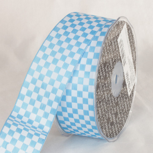 """Blue and White Checkered Wired Craft Ribbon 1.5"""" x 54 Yards - IMAGE 1"""