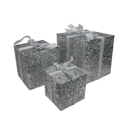 "Set of 3 Lighted Silver Glitter Gift Box Christmas Outdoor Decorations 15"" - IMAGE 1"