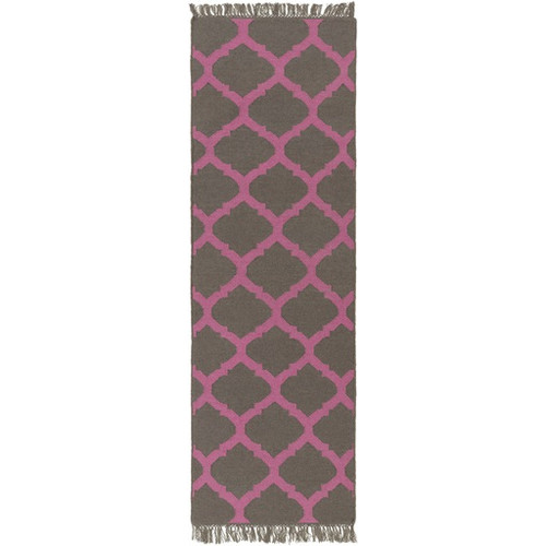 2.5' x 8' Imperial Charcoal Gray and Rose Pink Hand Woven Area Throw Rug Runner - IMAGE 1