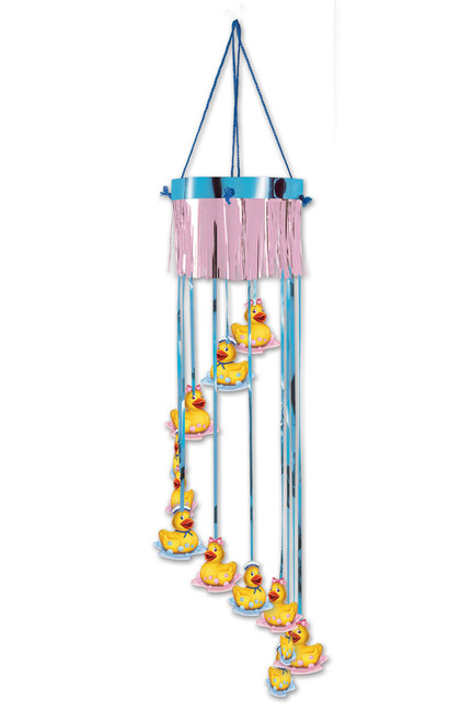 """Club Pack of 12 Blue and Pink Duckie Baby Shower Party Spiral Hanging Decors 40"""" - IMAGE 1"""
