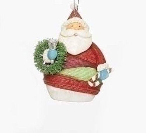 """4"""" Vibrant Colorful Striped Yarn Wrapped Santa Claus with Wreath Christmas Ornament - IMAGE 1"""