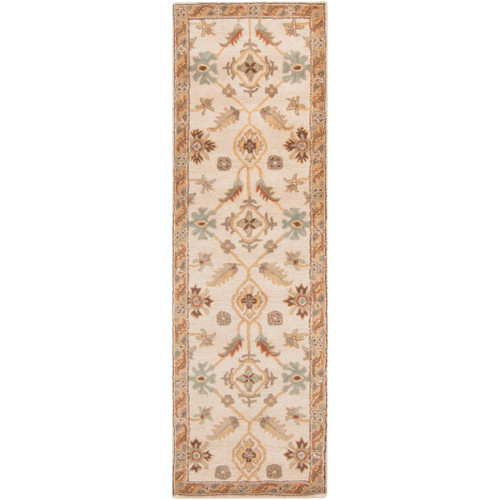 2.5' x 8' Sand Brown and Olive Gray Hand Tufted Wool Area Throw Rug Runner - IMAGE 1