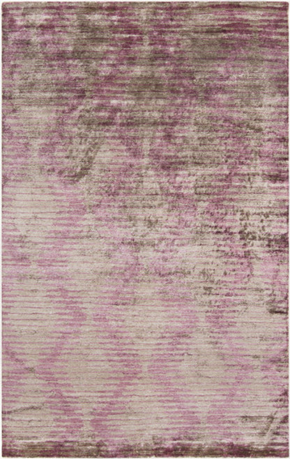 5' x 8' Gray and Purple Contemporary Hand-Knotted Area Throw Rug - IMAGE 1