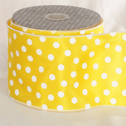"Lemon Yellow and White Polka Dots Printed Wired Craft Ribbon 4"" x 20 Yards - IMAGE 1"