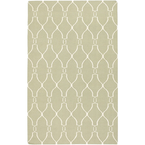 5' x 8' Olive Green and Beige Damask Hand Tufted Wool Area Throw Rug - IMAGE 1