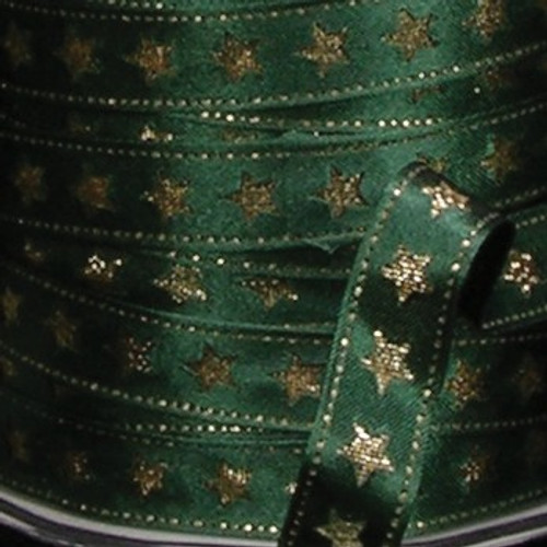 """Hunter Green and Gold Wired Craft Ribbon 0.5"""" x 54 Yards - IMAGE 1"""