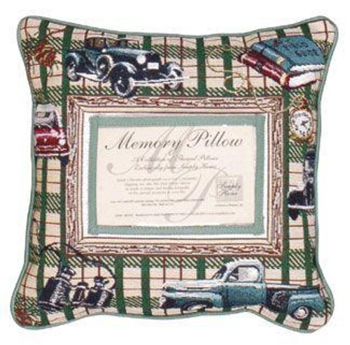 """12"""" Green and Beige Plaid Father's Day Square Throw Pillow - IMAGE 1"""