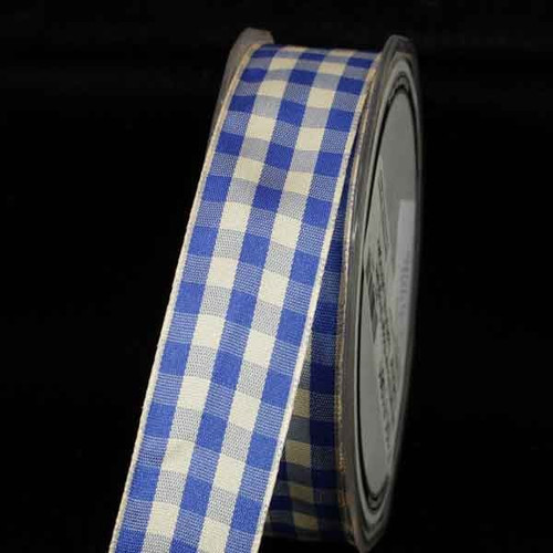 "Ivory and Blue Gingham Wired Woven Edge Craft Ribbon 1"" x 54 Yards - IMAGE 1"
