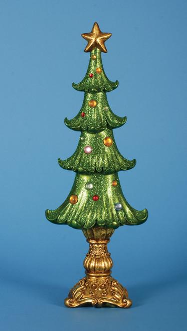 "Set of 2 Ornate Shimmering Glittered Christmas Tree Tabletop Decor 19.5"" - IMAGE 1"