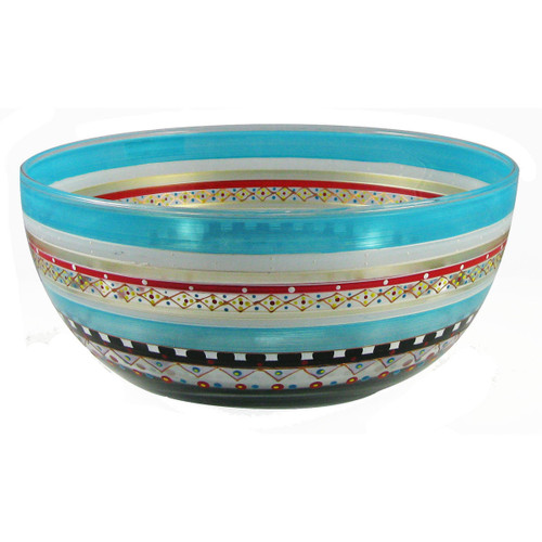"""11"""" Blue Mosaic Carnival Confetti Hand Painted Glass Serving Bowl - IMAGE 1"""