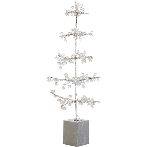 2' Pre-Lit Potted Ice Beaded Twig Artificial Christmas Tree - Warm Clear LED Lights - IMAGE 1