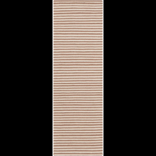 2.5' x 8' Simplicity Stripes Brown and White Hand Woven Rectangular Area Throw Rug Runner - IMAGE 1