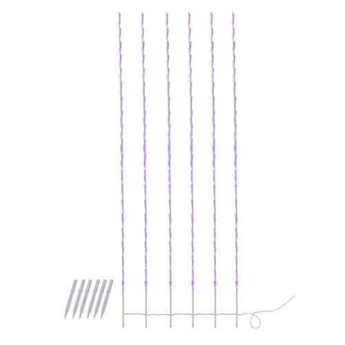 240 Purple LED Lighted Branch Patio Christmas Light Stakes - 8.5 ft White Wire - IMAGE 1