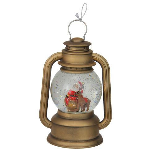 "8"" LED Lighted Santa and Sleigh Gold Swirling Christmas Lantern Glitterdome - IMAGE 1"