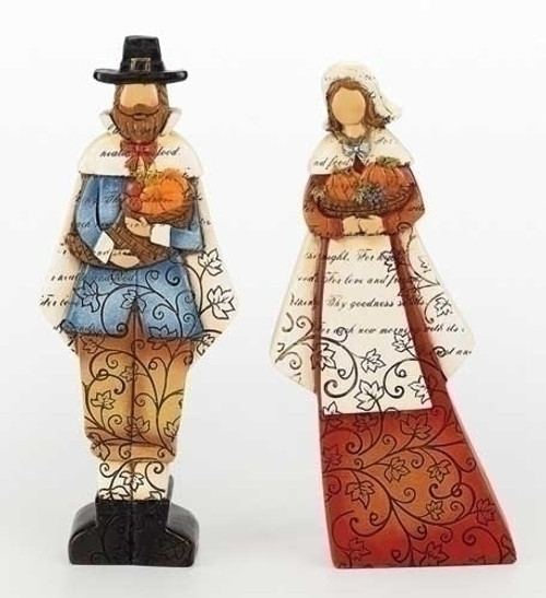 """Set of 2 Thanksgiving Autumn Harvest Pilgrim Man and Woman Figures with Verse 9"""" - IMAGE 1"""