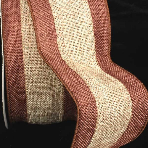 """Brown and Tan Striped Burlap Wired Craft Ribbon 3"""" x 20 Yards - IMAGE 1"""